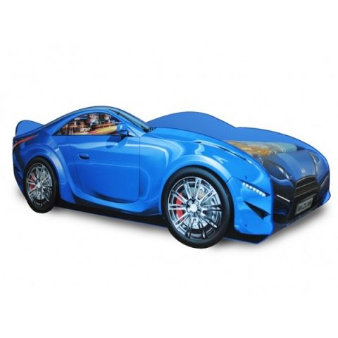 Кровать-машина «Турбо» синяя